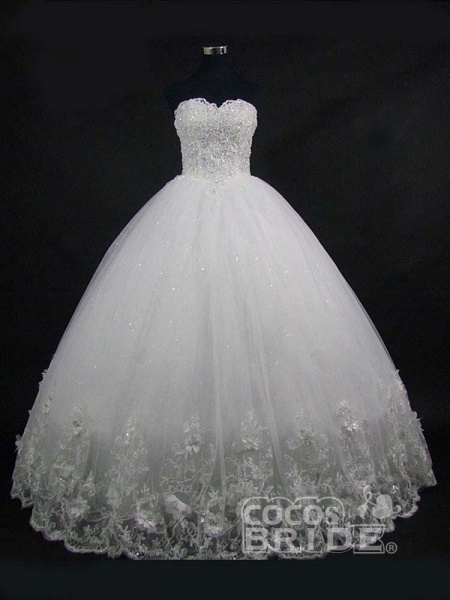 Popular Luxury Lace Ball Gowns Beaded Wedding Dresses_2