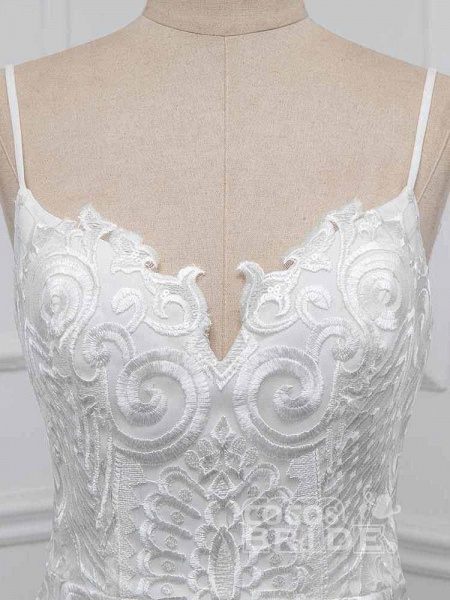 Elegant Spaghetti-Strap Backless Mermaid Wedding Dresses_4
