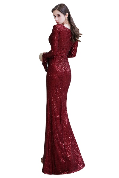 Gorgeous Sequins Long Sleeve V-Neck Mermaid Evening Gowns_33