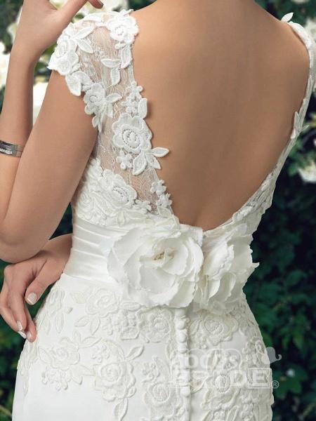 Fashion Cap Sleeve Lace Backless Mermaid Wedding Dresses_5