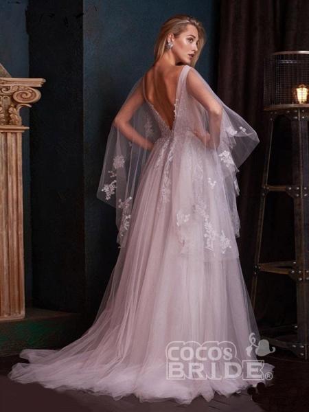 V-Neck Backless Tulle Ruffles Wedding Dresses_4