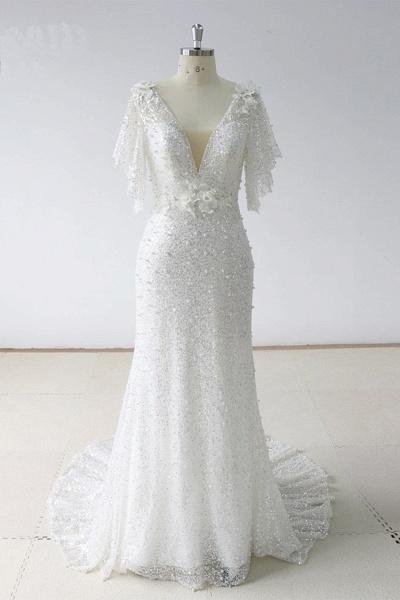 Stunning Sequins White Tulle Sweep Train Mermaid Short Sleeve Wedding Dress_1