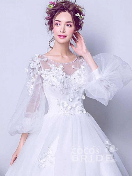 Luxury Long Sleeves Flowers Ball Gown Tulle Wedding Dresses_4