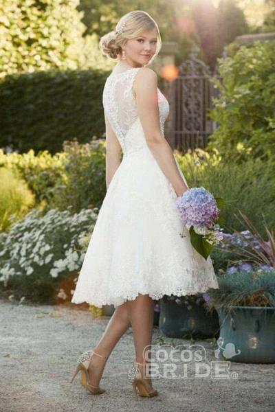 A Line Sleeveless Knee Length Lace Wedding Dress_2