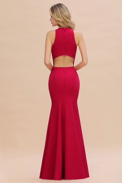 Red Mermaid Halter Prom Dress Long Evening Gowns_11