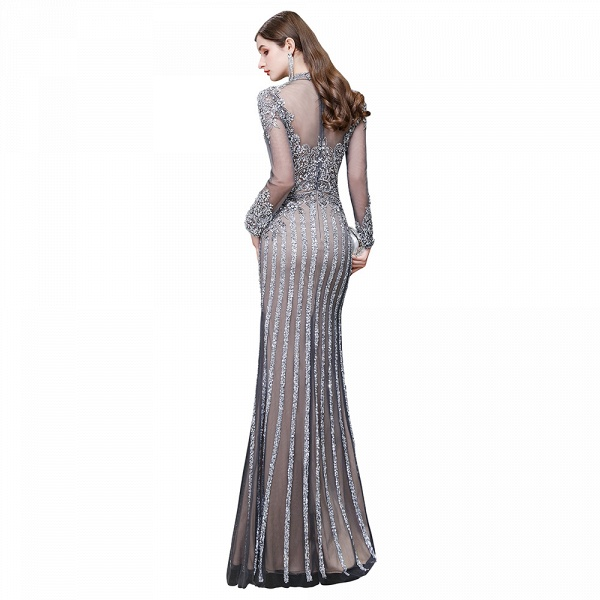 Long Sleeve Mermaid Sequins High-Neck Evening Gowns_16