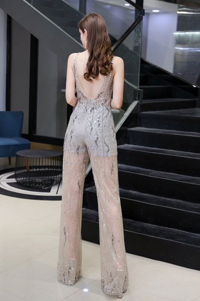 Jewel Sleeveless Tulle Evening Jumpsuit with Sequins_4