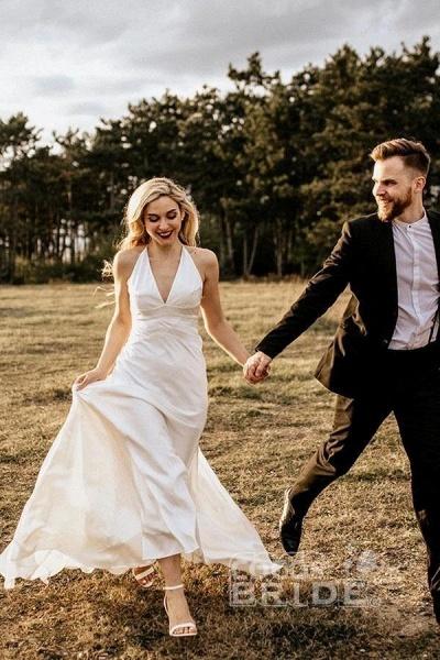 A Line Halter Ivory V Neck Beach Sexy Sleeveless Boho Wedding Dress_3