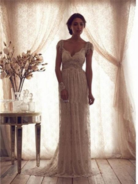 V Neck Backless Boho Wedding Dresses_1