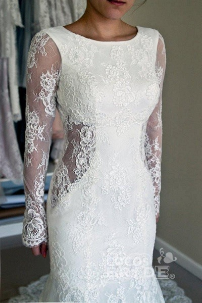 Long Sleeves Open Back Lace with Train Mermaid Beach Wedding Dress_3