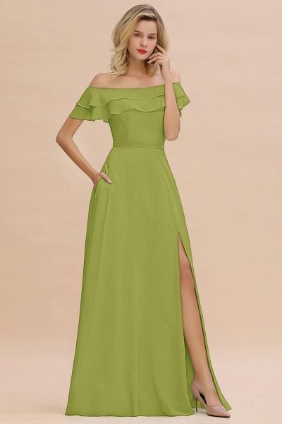 BM0775 Off-the-Shoulder Front Slit Mint Green Long Bridesmaid Dress_34