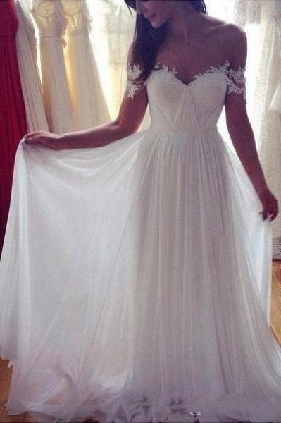 Simple A-Line Appliques Ivory Chiffon Beach Wedding Dress_1
