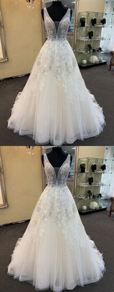 Unique White Tulle V Neck Long Beaded Lace Wedding Dress_3