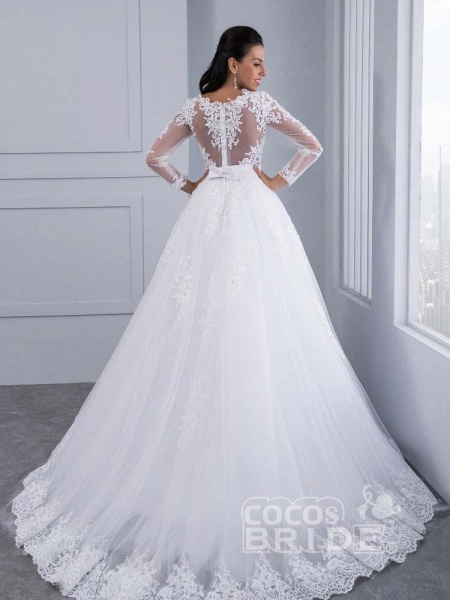 Elegant Long Sleeves Lace Appliques Ball Gown Wedding Dresses_4