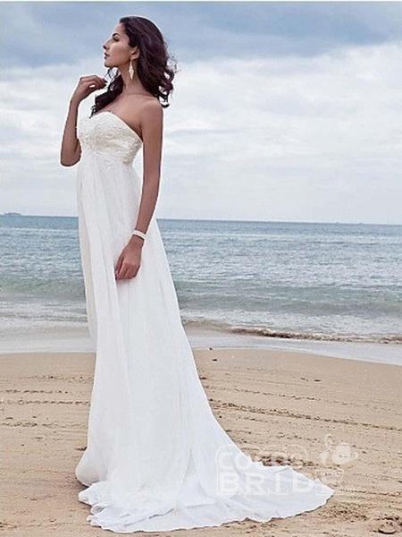 High Waist Elegant Sweetheart Ruffles Wedding Dresses_3