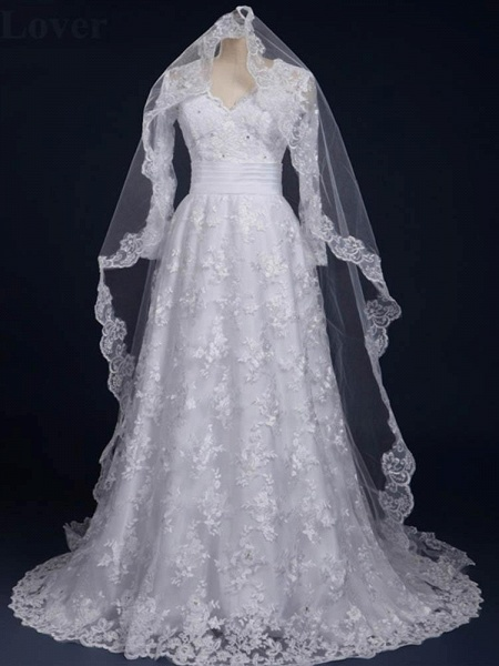 Elegant V-Neck Long Sleeves Covered Button Lace Wedding Dresses_1
