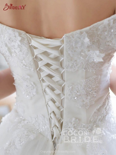 Off-the-Shoulder Lace-up Ball Gown Wedding Dresses_4