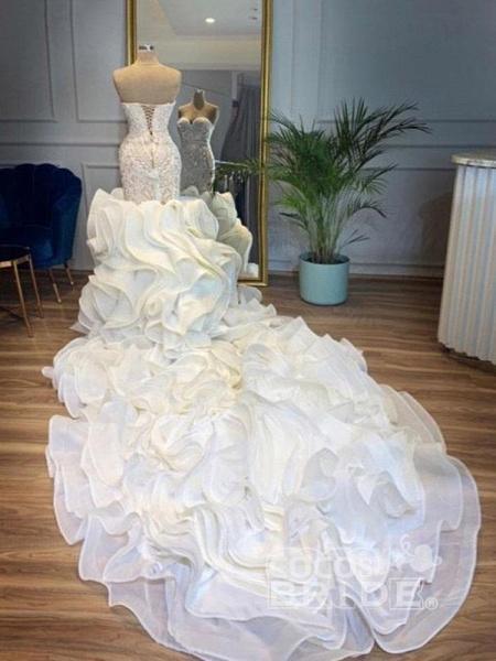 Elegant Sweetheart Lace Up Crystal Mermaid Wedding Dresses_2