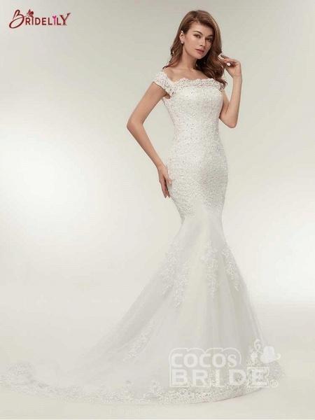 Off-The-Shoulder Bateau Mermaid Wedding Dresses_2