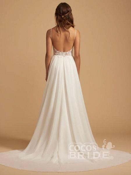 Beautiful Spaghetti Strap Backless Tulle Wedding Dresses_2
