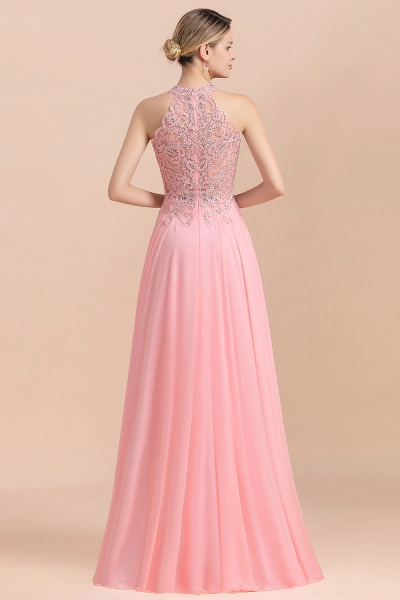 Pears Crystal A Line Halter Wedding Dresses Lace Wedding Gowns_7
