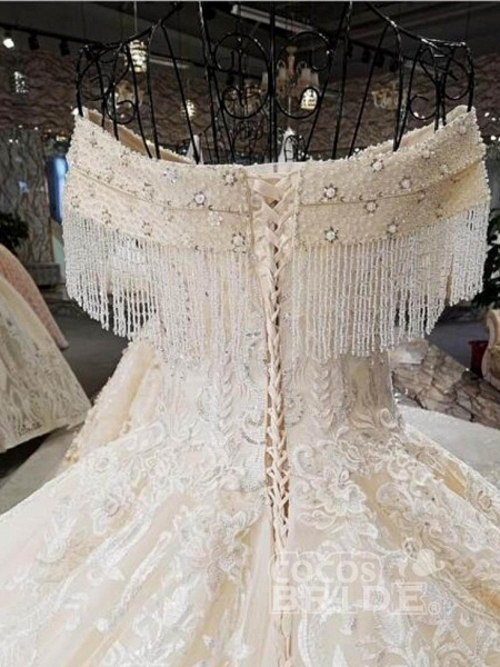 V-Neck Off-the-Shoulder Ball Gown Wedding Dresses Beaded Appliques_2