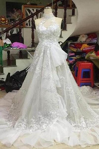 White Tulle Strapless High Neck Long Wedding Dress_1