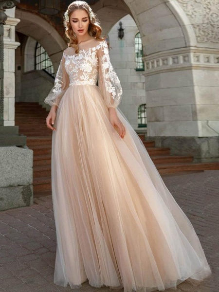 Long Sleeves A-line Appliques Tulle Wedding Dresses_1