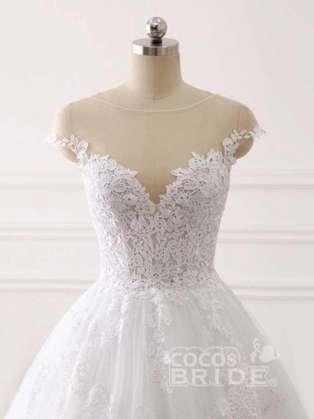 Lace Appliques Ball Gown Wedding Dresses_5
