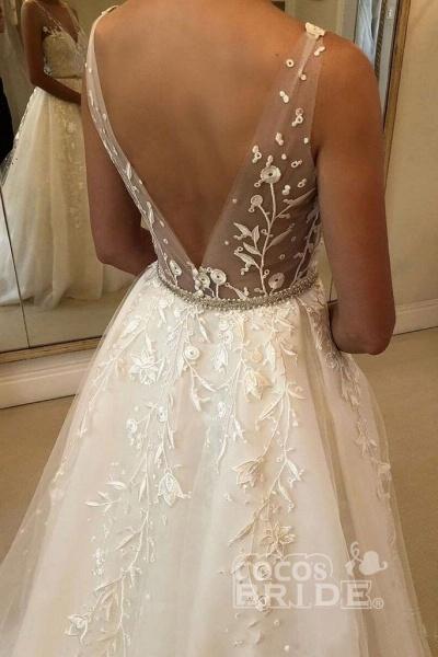 Romantic V Neck Beach with Lace Appliques A Line Wedding Dress_3