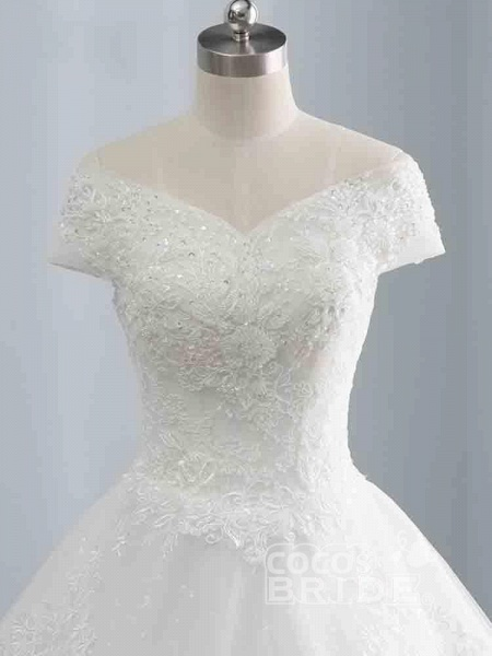 Gorgeous Cap Sleeves Sequins Lace-Up Ball Gown Wedding Dresses_3