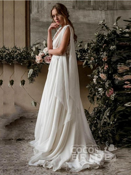 Glamorous Deep V-Neck A-Line Ruffles Wedding Dresses_2