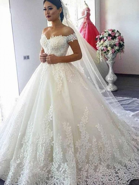 Glamorous Off-the-Shoulder Beads Ball Gowns Wedding Dresses_1
