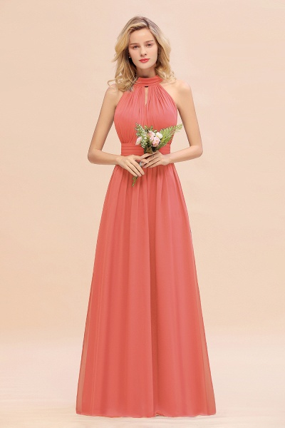 BM0758 Glamorous High-Neck Halter Bridesmaid Affordable Dresses with Ruffle_7