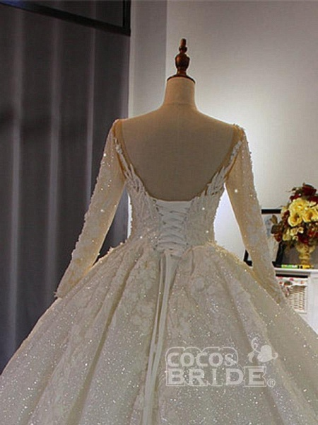 Classical V Neck Long Sleeve Ball Gown Wedding Dresses_2