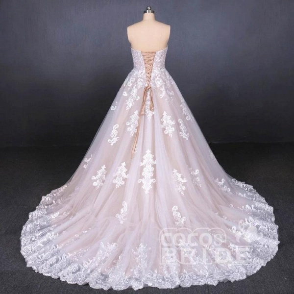 Puffy Strapless Tulle with Appliques Long Train Lace Up Wedding Dress_6