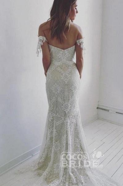 Affordable Off the Shoulder Mermaid Long Wedding Dress_2