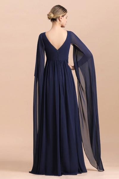 Long Sleeve Ruffles Beads Pearls Chiffon Mother Of the Bride Dress_3