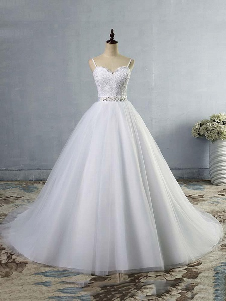 Elegant Spaghetti-Strap Lace Sashes Tulle Wedding Dresses_1