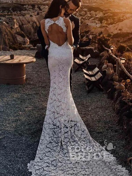Awesome Lace Open Back Beach Mermaid Wedding Dress_2