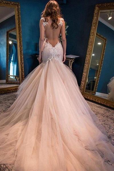 Gorgeous Mermaid Sweetheart Sleeveless Watteau Train Tulle Wedding Dress_1