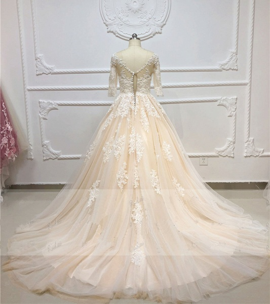 Champagne Tulle White Lace Applique Half Sleeve Long Wedding Dress_3