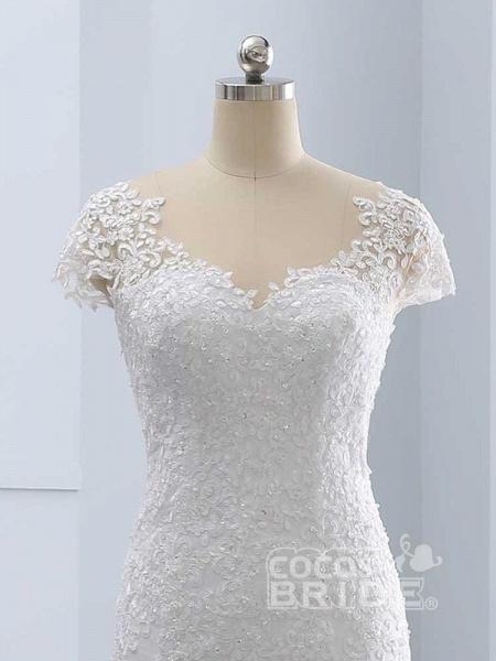 Cap Sleeves Lace Mermaid Tulle Wedding Dresses_5