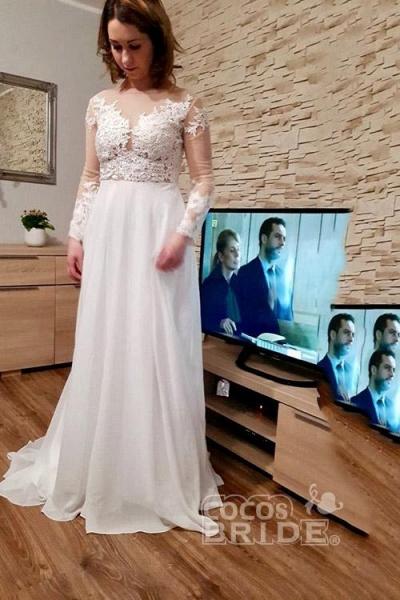 Modest Long Sleeves Lace A-Line Ruffles Wedding Dresses_3