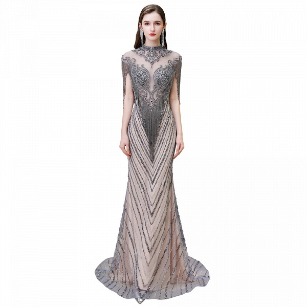 High Neck Cap sleeves Sparkle Beads Long Prom Dresses_1