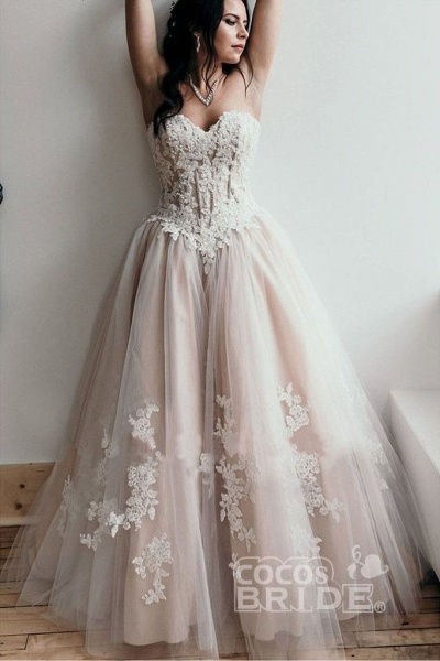 Floor Length Sweetheart Tulle Wedding with Lace Appliques Long Dress_5