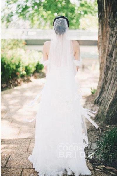 Flowy Off the Shoulder Chiffon Beach Simple Long Pleated Wedding Dress_4