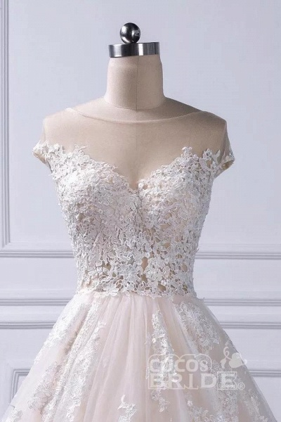 Gorgeous Sheer Neck Cap Sleeves Lace Appliques A Line Wedding Dress_5