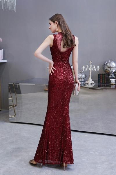 Gorgeous Mermaid Burgundy Sequins Long Prom Dress_5