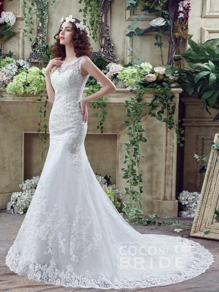 Elegant Beaded Tulle Mermaid Wedding Dresses_4